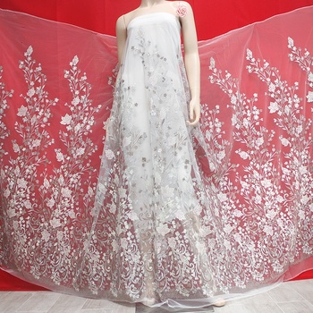 2019 grey bridal lace fabric Baroque design embroidered sequins tulle latest fashion trend in bridal