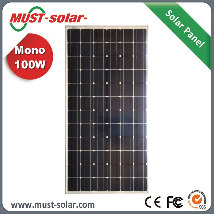 High Efficiency +/-3% Power Tolerance Mono 100w Solar Panel