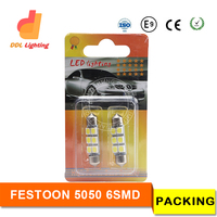 Guangzhou wholesale longlife time 39mm 6smd car led lighting festoon 5050 leds bulb C5W DE3423 DE3425 Cross Reference
