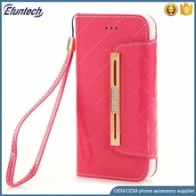 Promotion PU leather lady mini hand bag cell phone cover for iphone 7 case