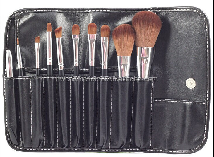 PU leather 10pcs makeup brush set