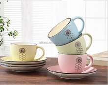 Hand-painted coffee cups and saucers creative personality characteristic cafes ceramic cup tea cup gift set custom LOGO
