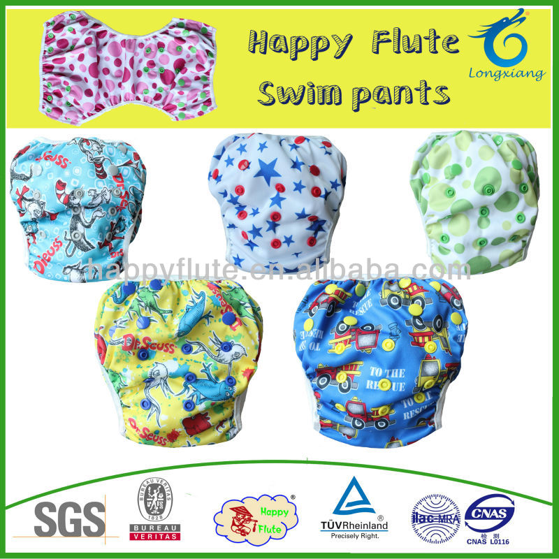 Happy Flute baby product,swim diaper for summer, colorful,reusable ,adjustable diaper cover