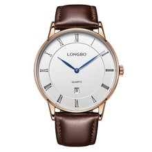 Classical analog watch with leather strap and Roma numbers dial