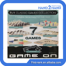 Hot sales board game with wooden 7 in 1 classic games collection for children