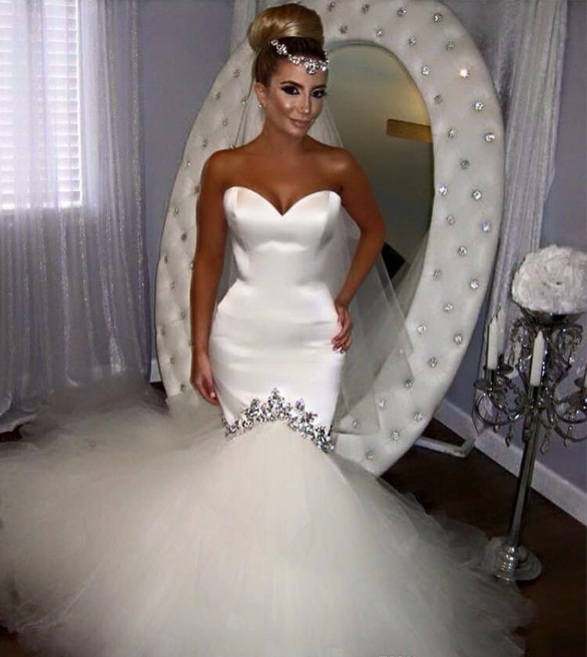 2017 Sexy Mermaid Wedding Dresses Lace Sweetheart Neckline