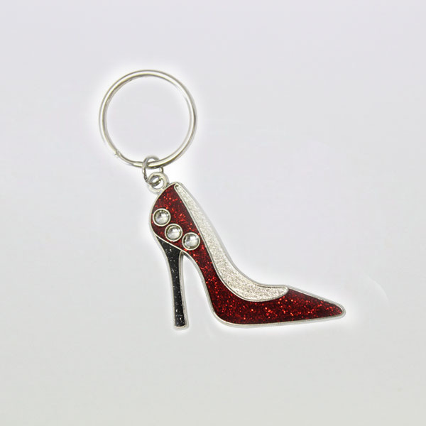 hot sale red high heel shape shining metal key rings