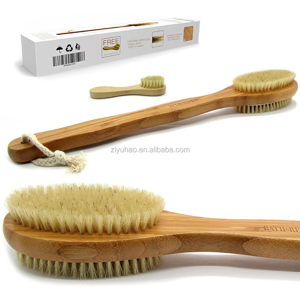 Bath & Relax Bamboo Back Body Scrubber Bath Brush, 14-Inch Long