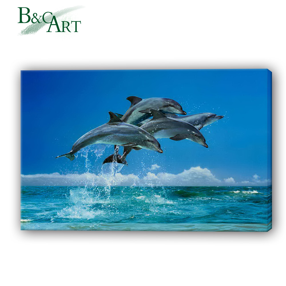 Custom Service Impressive Dolphin Jumping Picture Photo Printing
