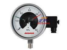 Aosoon Y-100ZT switch contact bourdon tube stainless steel pressure gauge back lower surface mount liquid filling