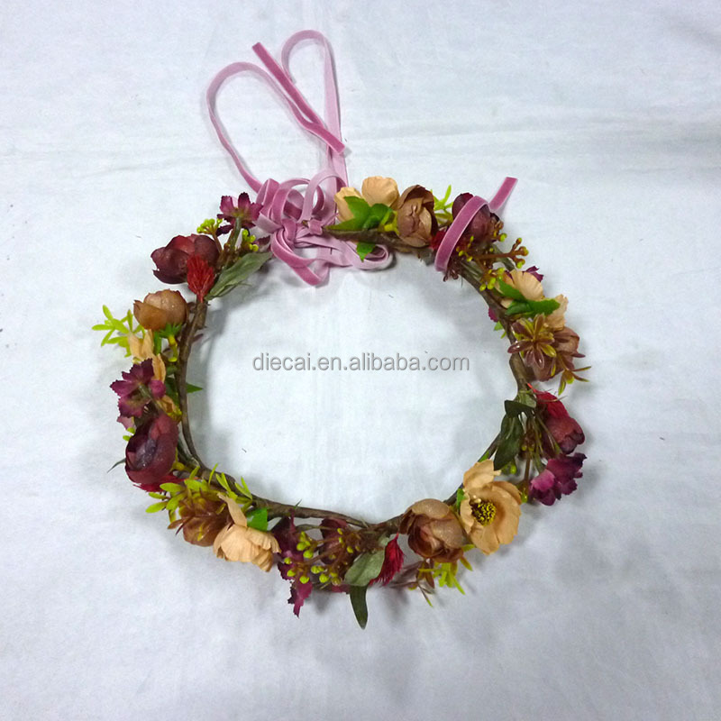 Hot sale hair wedding flower <strong>crown</strong> from yiwu flower market