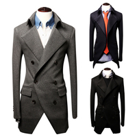 Double-breasted casual men blazer fashion cheap men slim jacket overcoat