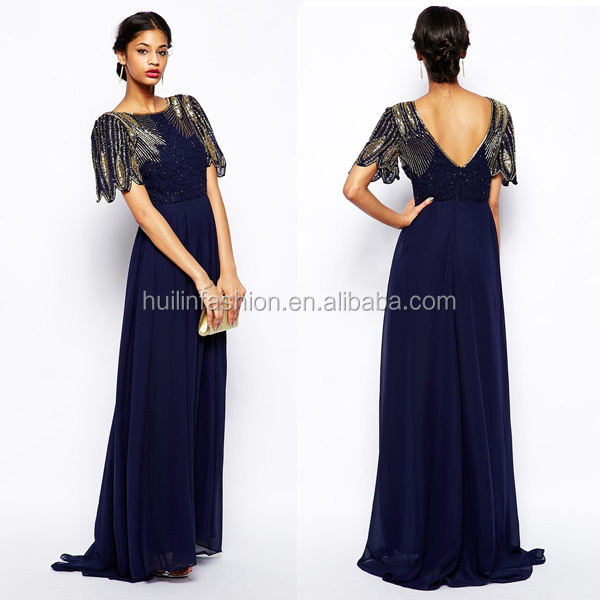 2014 new arrival embellished maxi dress evening dress in china