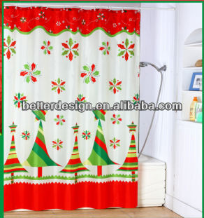 beautiful cheap stock-xmas print home goods shower curtain