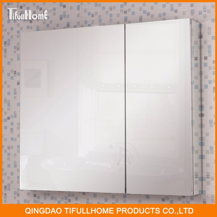 Custom hanging metal glass wall bathroom mirror cabinet
