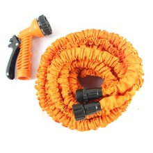 50Ft Expandable Garden Hose with Brass Connector & Spray Nozzle