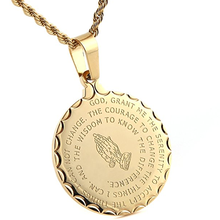 Bible Verse Prayer Necklace Praying Hands Coin Medal gold chain and Pendant