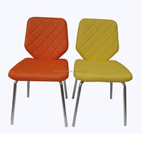 Orange or yellow PU leather chrome dining chair