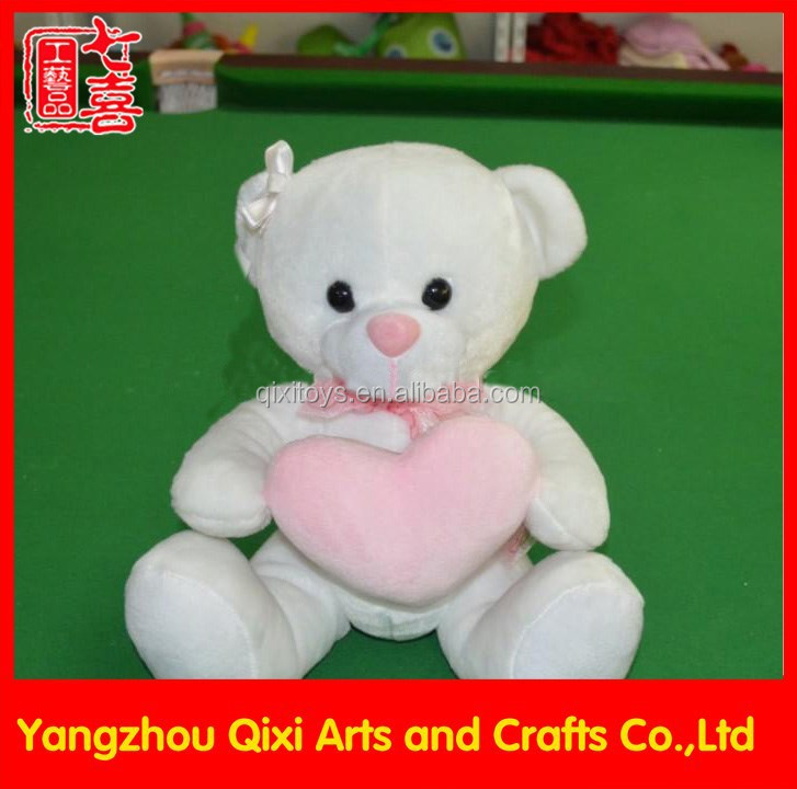 Valentine plush bear wholesale cheap white teddy bear with pink heart