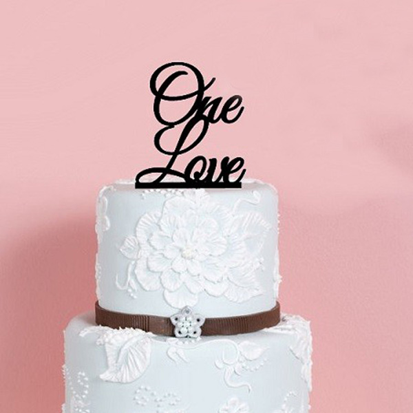 Wholesale Black Acrylic One Love Wedding Cake Topper