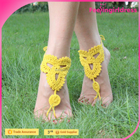 Sample Free Yellow Cotton Crochet Knitted Sandals Beaded Barefoot Sandals