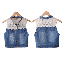 2016 high quality denim vest with studs and laces