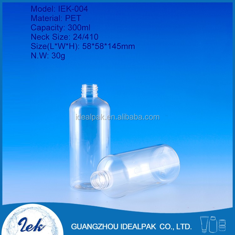 Cosmetic packaging bottle custom made 300ml PET plastic bottles