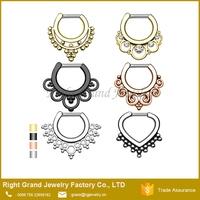 Gold Plated Assorted Designs Nose Ring Piercing Septum Faux Rings