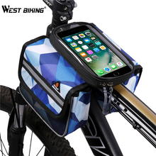WEST BIKING Bicycle Bag Touch Screen Phone Holder Bags Panniers Bike Accessories Double Pouch Head Top Tube Bike Front Frame Bag