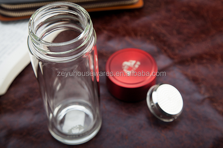 Leak proof double wall glass bottle with handle / water containers