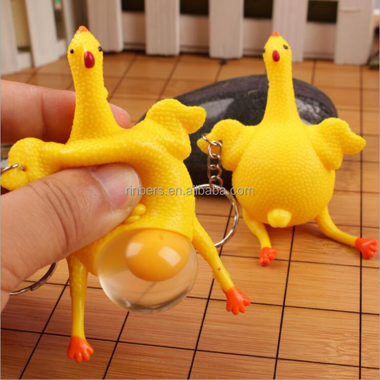 Hot Sale Popular Yellow Children Squeeze Toys Chicken Lay Egg Toys Plastic Keychain Toys