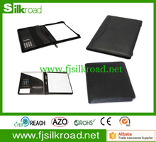 a4 pu leather portfolio with calculator notepad for office