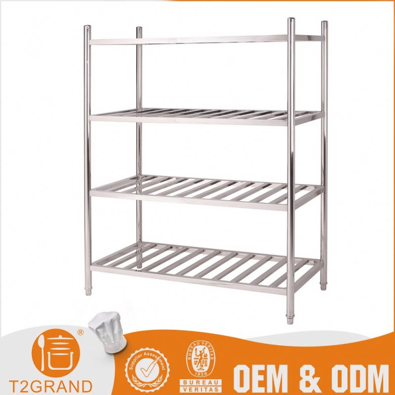 Hot Sell Customizable Stainless Steel Four Layers Metal Shelf Fabrication Kitchen Pot Shelf Stand