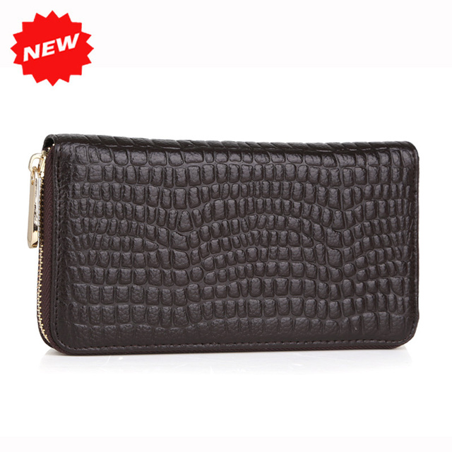 Fashion Genuine Leather Women Purse Zipper Around Wallet Stone Pattern Female Long Real Cowhide+Pu Wallets Bags Handbags
