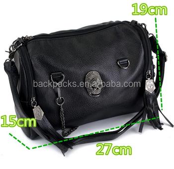 cdf5c0ab575 New Fashion Women Skull Rivet Tassels Shoulder Nappy Bags Crossbody Satchel  Tote Mummy Bag