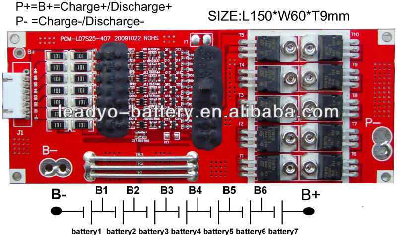 25.9V 20A 7S li-ion BMS/PCM board