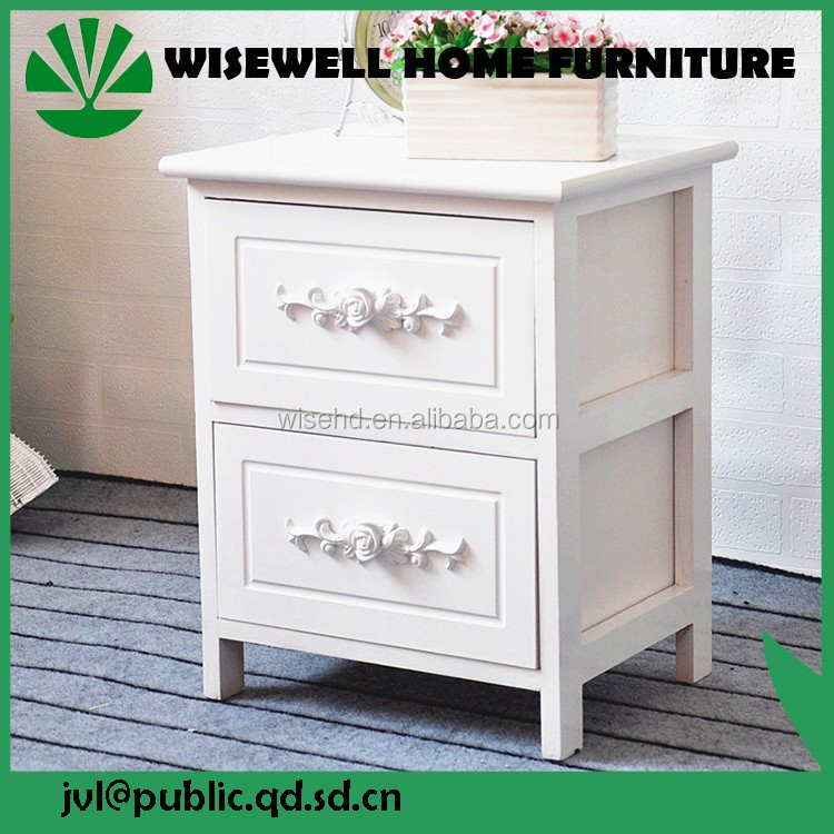 high quality white wooden bedroom bedside table three drawers W-CB-5059