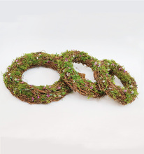 natural wicker wreath rings with moss and flower