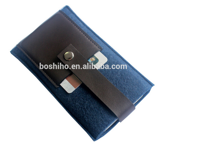 Custom design felt smart cell phone case with slim pu leather card holder