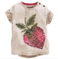 New Fashion girl strawberry embroidery t-shirt