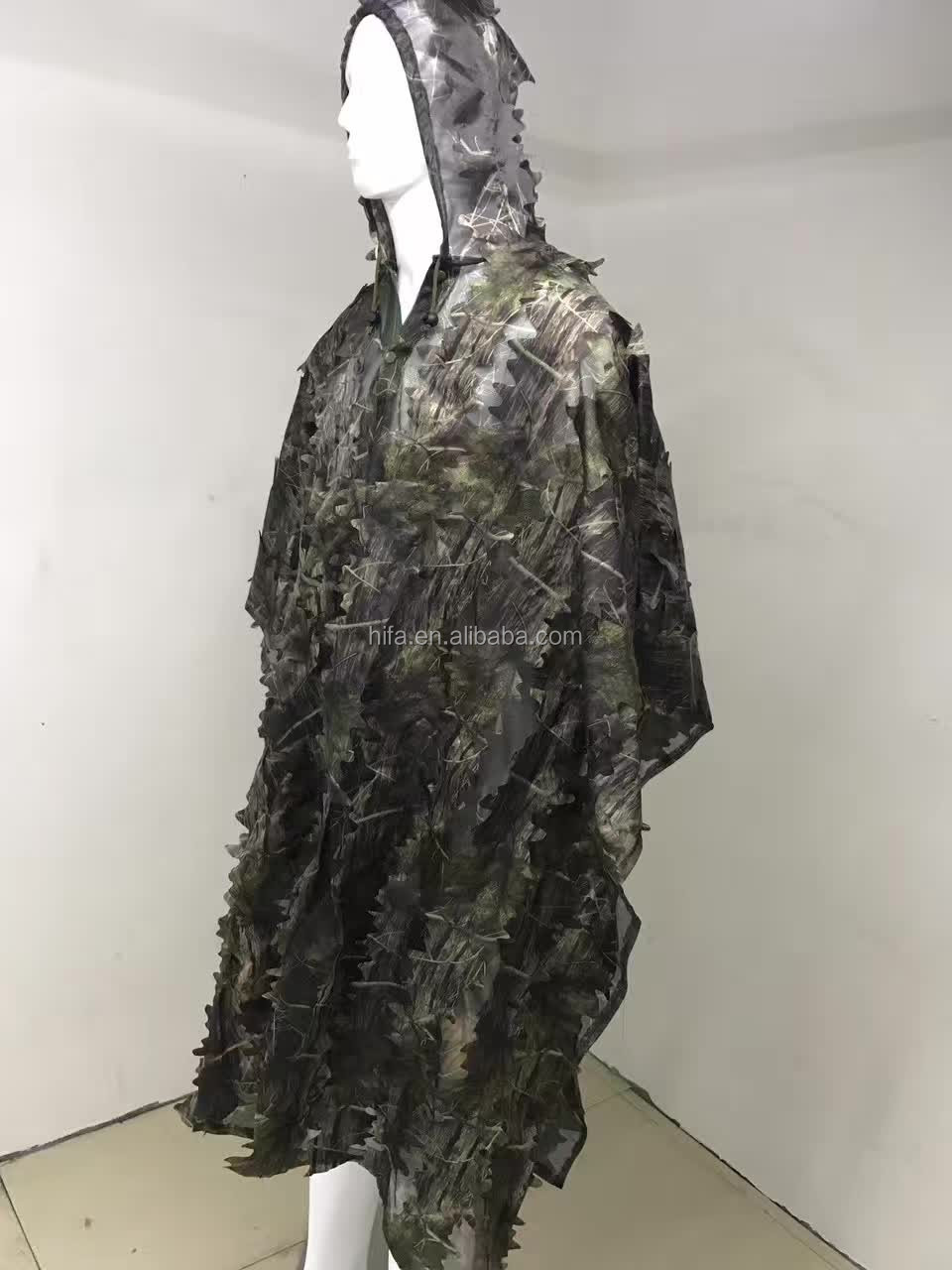 leaf ghillie suit poncho for hunting,3D forest sniper ghillie suit poncho