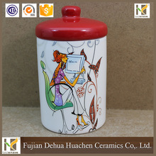 Ceramic Canister jar and cover for tea coffee sugar water bottle joyshaker for kitchen storage
