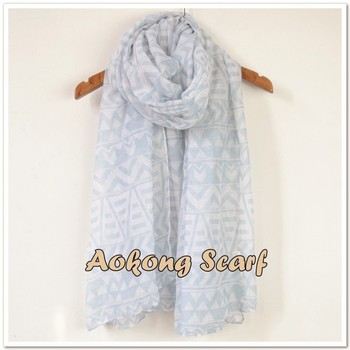 Blue tribal scarf wholesale lady polyester scarf