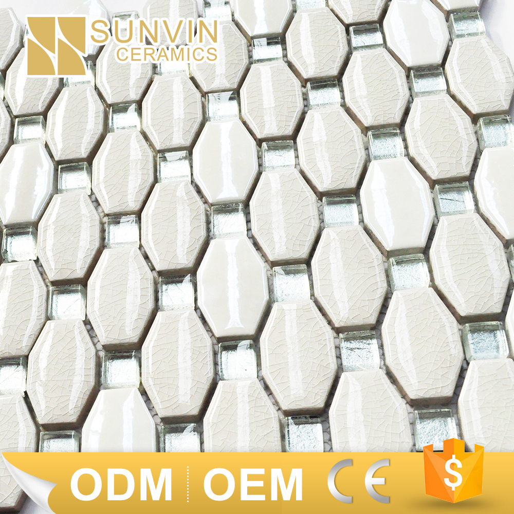 octagon shape glazed ceramic square glass tile mosaic pictures