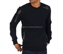 2014 custom wholesale crewneck leather sleeve ,Sweatshirts with Leather Sleeve,genuine leather sleeve hoodie