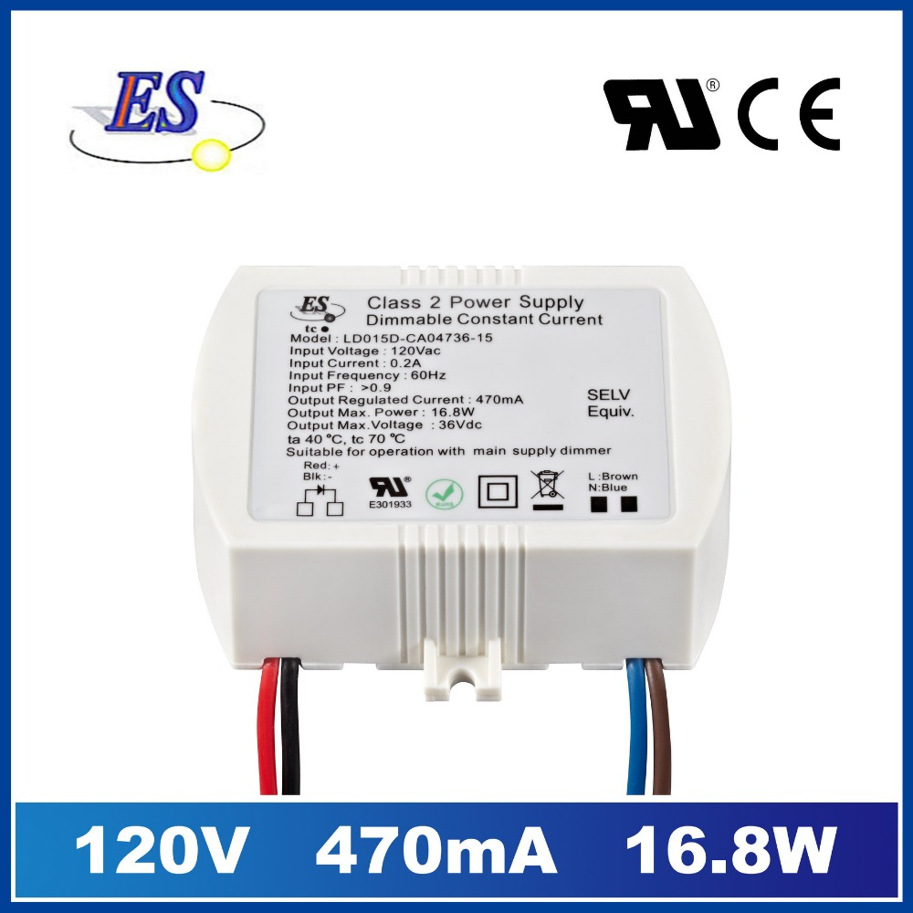 ES 36Vdc 470mA 16.8W constant current TRIAC dimmable led driver ,UL CUL IP65