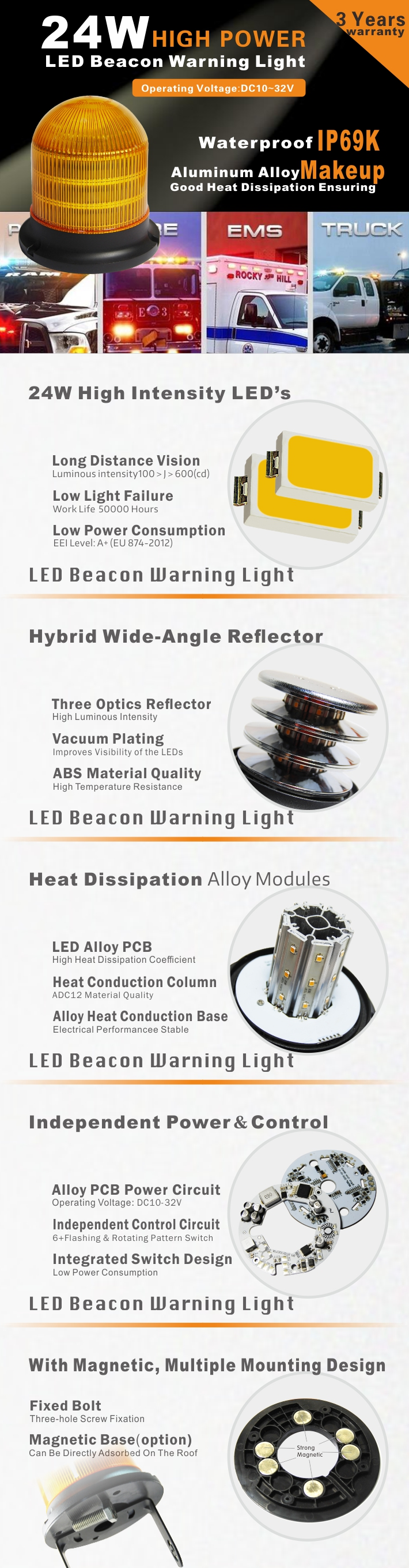High Lens Amber LED Beacon Strobe Rotating Warning Caution Light with Cigarette Lighter for Building, Construction, Airport