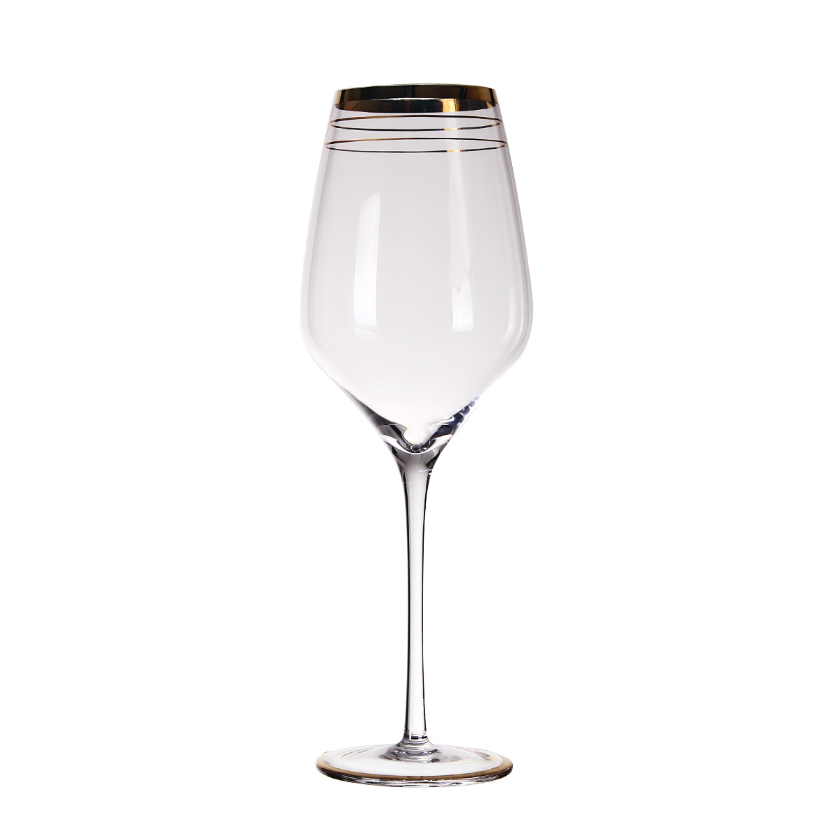 SET13034 SANZO mouthblown oem decoration gold rim wine glass with long stem