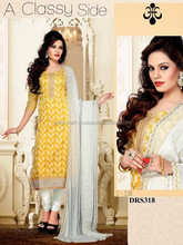Wholesale Bollywood fashion Designer Punjabi suit material-yellow plain dress material-party wear suit-wholesale Indian dress