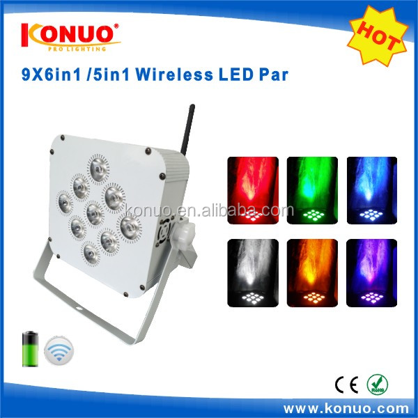 Wedding decoration 9x12W RGBWA+UV 6in1 DMX wireless battery powered led wash light